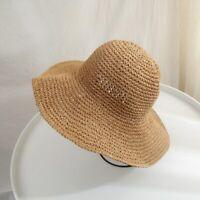 Women Beach Panama Straw Hats Sun Hats Wide Brim Floppy Summer Hats Bucket Hat