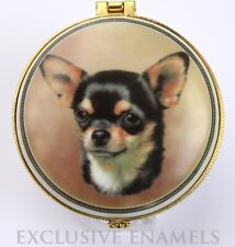 More details for alastor enamels chihuahua dog round hinged china trinket box