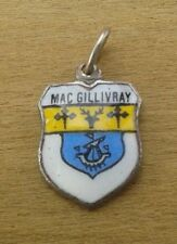 MacGillivray Mac Gillivray Coat of Arms Family Crest Silver Plated Enamel Charm