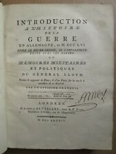 LLOYD : HISTOIRE DE LA GUERRE EN ALLEMAGNE, 1784. In-4, 11 planches, ex. de AMEY