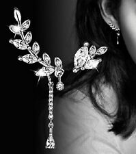 Silver Plated Ear Cuff Clip Earrings Sweep Wrap Branch Leaf Climber Rings ECF16