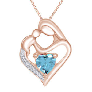 Simulated Birthstone Mother & Child Heart Pendant Necklace 14k Rose Gold Over