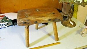 19thC Antique Primitive Wooden Three Legged Oak Milking Stool