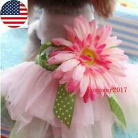 Pet Dog Daisy Flower Gauze Dress Skirt Puppy Cat Bowknot Princess Dress Clothes