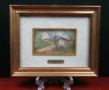 antica MINIATURA dipinto olio con Cornice Preziosa Paesaggio firma C. Barbato