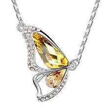 18K Gold GP SWAROVSKI Element Crystal  Butterfly Pendant Necklace Yellow