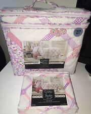 5pc Set Cynthia Rowley PRINCESS DIAMOND RIBBON 2pc TWIN QUILT & 3pc Sheet SET