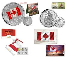 2015 Silver $25 Canada Flag Coin, Coin Roll, Uncirculated Coin Set & Flag Stamp