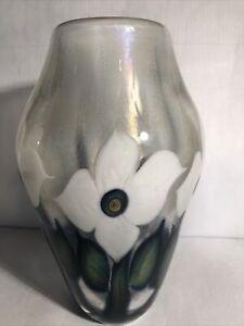 "Lotton Glass Vase Blown Iridescent 8"" signed David Lotton White Flowers"