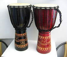 HANDMADE CARVED WOOD BONGO DRUMS GOAT SKIN DESIGN PERCUSSION 60cmH