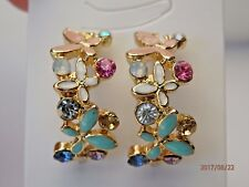 Butterfly Enamel Rhinestone Multi-coloured Gold Earrings Pink Blue Green White