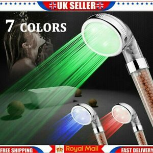 7-Colors LED Bathroom Shower Heads High Turbo Pressure Anion Stone Filter Water