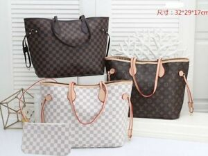 Purely Radiant Checkered Tote Bag For Women Leather Shoulder Strap With Pouch
