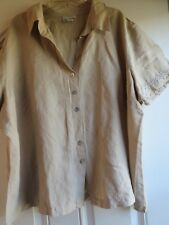 PLUS SIZE REFINED LACE TRIMMED LINEN BLEND BEIGE TOP BY AVENUE: SIZE 26
