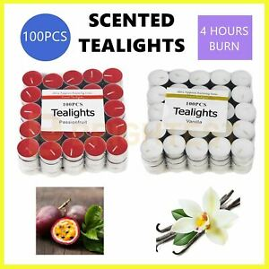100pk Scented Tealights Tea Light  Candles Bulk 4 Hours Burn Home Scent Wedding