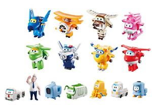 """Super Wings - 2"""" Scale Transform-a-Bot World Airport Crew Vehicle Playset 