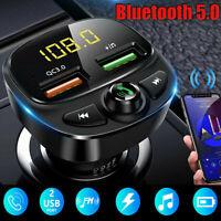 Wireless&Bluetooth5.0 FM Transmitter QC3.0 Car USB Charger Adapter Radio Player