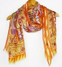 Silk scarf Elegant 180x62 Long Shawl Wrap Designer Paisley 192 orange