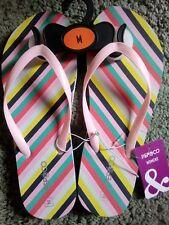 Pep & Co ladies women's flip flops size medium suit 4/5/6 pink stripes summer