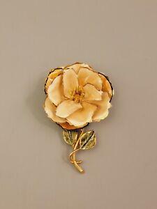Signed VENDOME Vintage Flower Brooch Clear Crystal Enamel Gold Tone