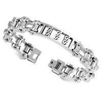 """Stainless Steel Silver-Tone Bike Chain Greek Key Men's Link Bracelet, 9"""""""