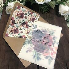 Private listing for smill-laura - 40 x vellum invite/RSVP with 'Eleanor' florals