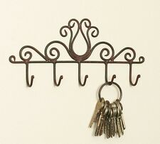 Country Primitive Rustic Metal Tulip Scroll Key Ring Holder Rustic Patina