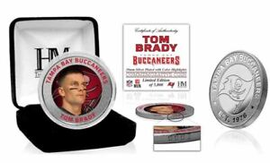 TOM BRADY Tampa Bay Buccaneers Color Silver flip Coin HIGHLAND MINT