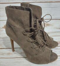 Anne Michelle One Love Size 7.5 Peep Toe Lace Up Stiletto Heels Shoes Beige