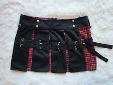 TRIPP NYC Emo Gothic Schoolgirl Black Red Plaid Pleated Chain Skirt Size L Kilt