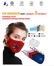 MASQUE de protection AntiPostillions Lavable avec 5 Filtres a charbon actif Bleu