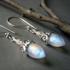 New Women's Vintage 925 Solid Silver Moonstone Stud Hook Earrings Party Jewelry