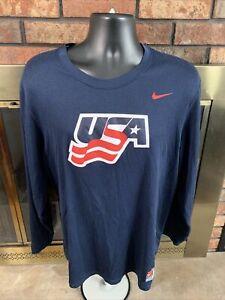 Vintage USA Hockey Nike Team T-shirt Long Sleeve T Shirt Mens Size XL Dri Fit