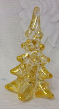 Vintage Gold Dust Painted Solid Art Glass Christmas Tree