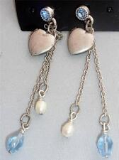 Beautiful  BoHo Bijoux  Heart  Charm & Crystal & Blue Bead  Earrings