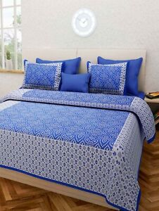 Traditional Indian Queen Size Bedsheet With Pillow Case(5Pcs)-(Offer Free Gift)