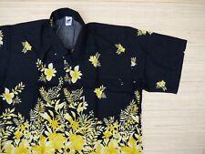 Hawaiihemd Hawai Hawaii Hemd SALE !! Viskose schwarz Blumenwiese gelb