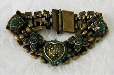 Green Crystal and Brass Toned Link Bracelet by Peter Lang