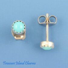 TURQUOISE STONE DOT 4mm .925 Sterling Silver Stud Post Earrings BEZEL SETTING