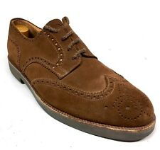ROSSETTIGREEN  Fratelli Rossetti Brown Suede Shortwing Wingtips Made In ITALY