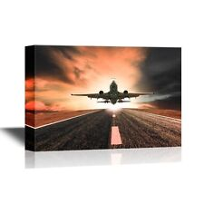 wall26 - Flight Canvas - Retro Style Art with Airplane Taking Off - 24x36 inches