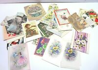 Vtg Greeting Cards Postcard Lot Birthday Christmas 30s - 50s  Old Retro Mixed