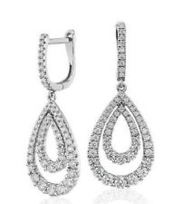 1.25 Ct Round Cut Pave Set Diamond Solid 14K White Gold Over Drop Earrings