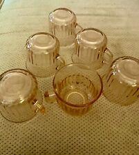 Vintage Pink Depression Era Glassware (set of 6) cups with handles No Chips