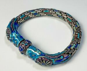 Antique Chinese Enameled Silver Linked Bracelet with Dragon Heads
