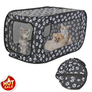 Portable Folding Pet Tent Houses Foldable Fence Cat Dog Travel Cage Outdoor
