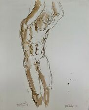 """Male Nude Study III"" (Pen and Ink) by Richard Taddei 1995"