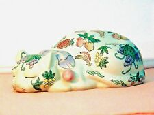 "VINTAGE SLEEPING CAT PORCELAIN w/Painted Enamel Fruit 9.5"" SIGNED & NUMBERED"