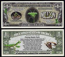 Lot of 25 Bills - Praying Mantis Million Dollar Novelty Bill with facts