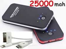 POWER BANK carica BATTERIA ESTERNA USB 25000mAh UNIVERSALE SMARTPHONE portatile